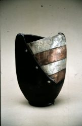 John bedding raku fired vase with silver nitrate and copper stripes