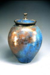 John bedding raku fired lidded pot