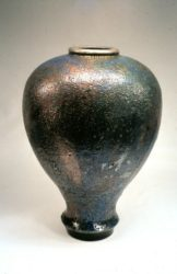 John bedding copper alkaline glazed vase raku fired