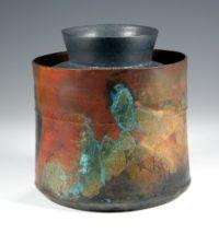 John bedding copper glazed and patinated jar