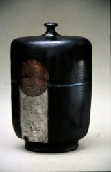 John bedding raku fired copper and silver nitrate glazed bottle vase
